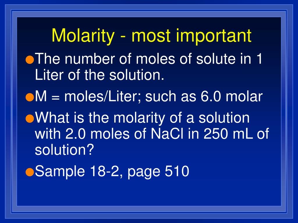 Molarity - most important