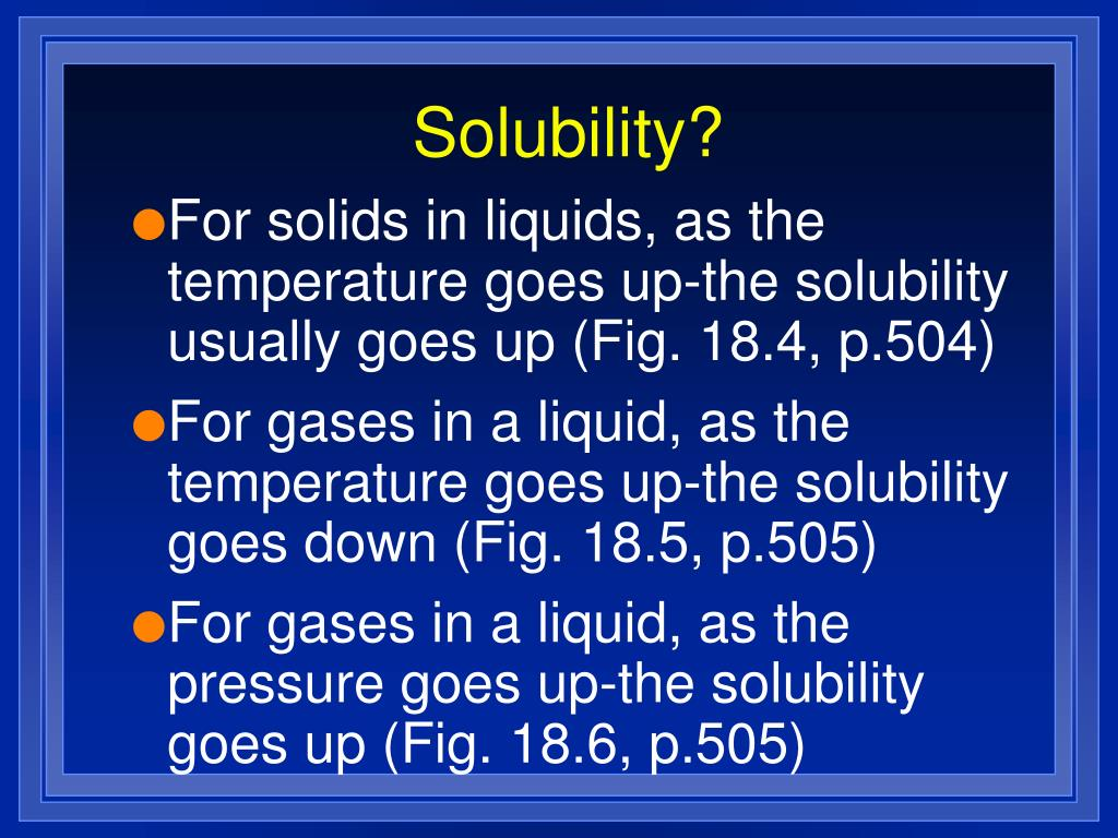 Solubility?