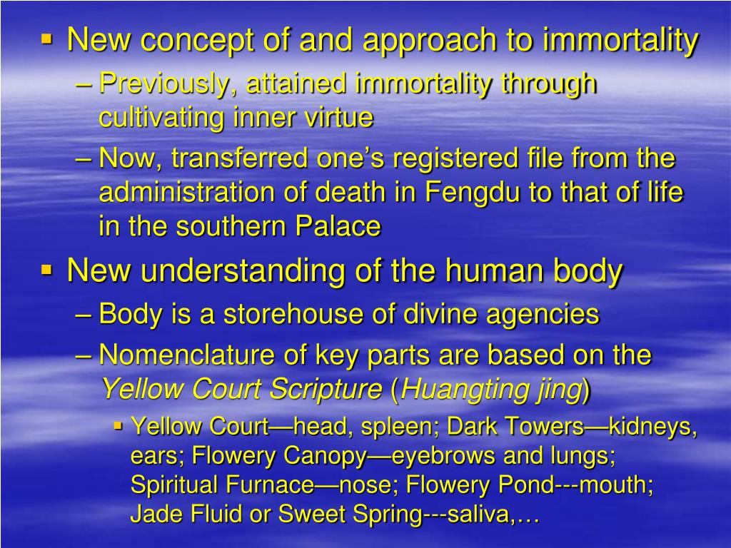 New concept of and approach to immortality