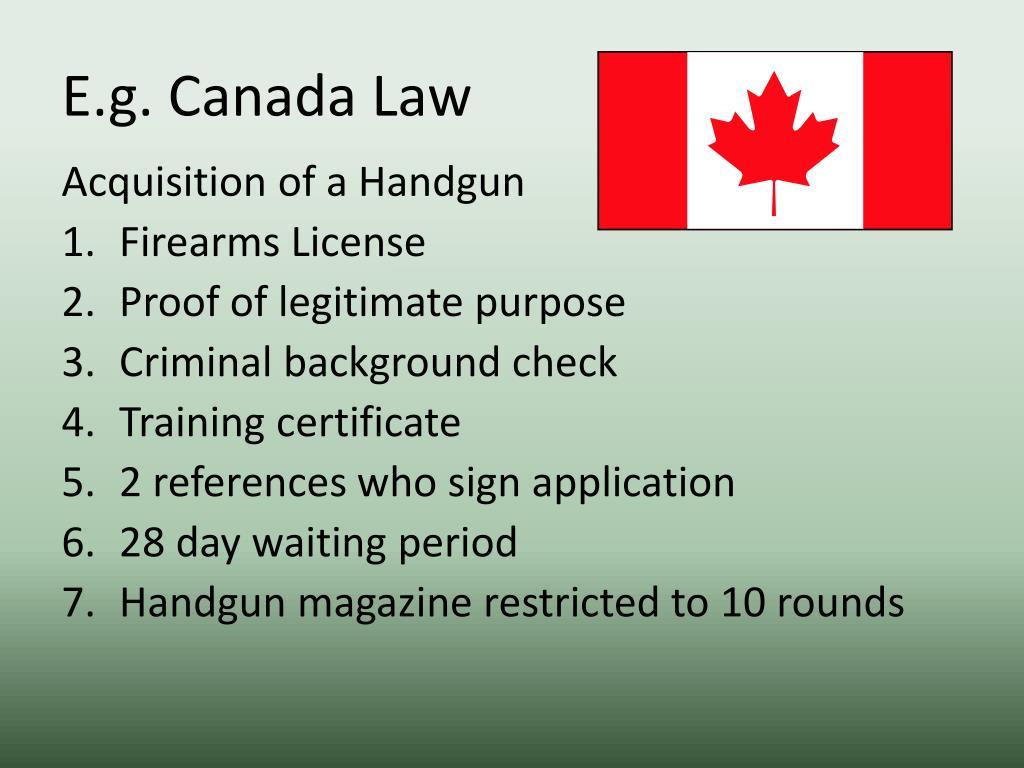 E.g. Canada Law