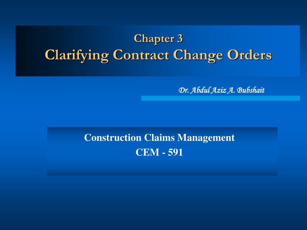 chapter 3 clarifying contract change orders l.