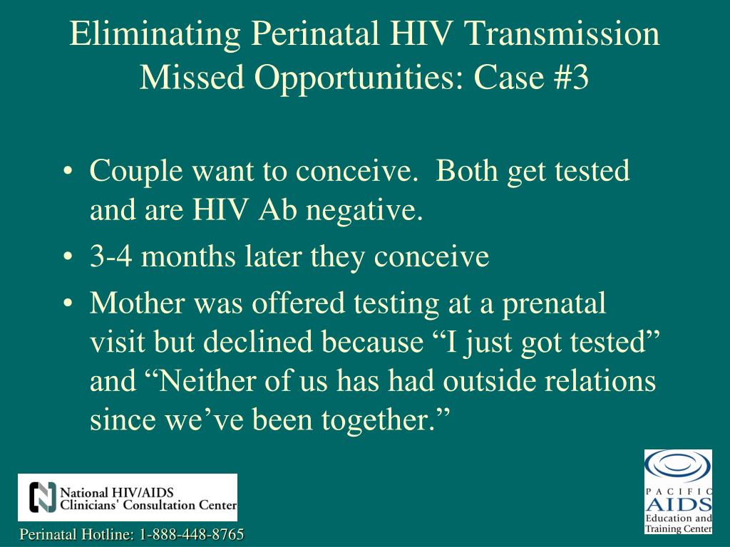 Couple want to conceive.  Both get tested and are HIV Ab negative.