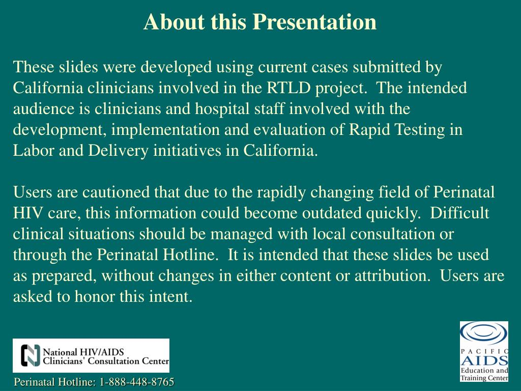 About this Presentation