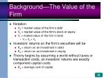 background the value of the firm