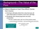 background the value of the firm46