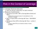 risk in the context of leverage