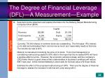 the degree of financial leverage dfl a measurement example