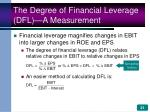 the degree of financial leverage dfl a measurement
