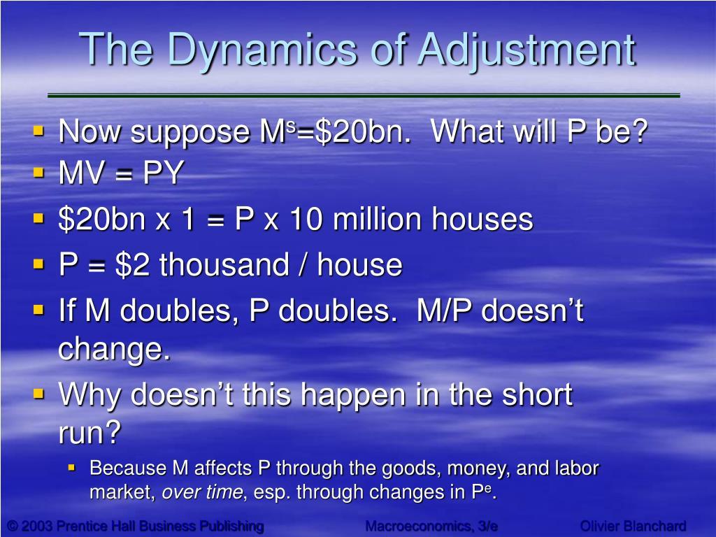 The Dynamics of Adjustment