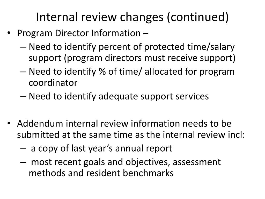 Internal review changes (continued)