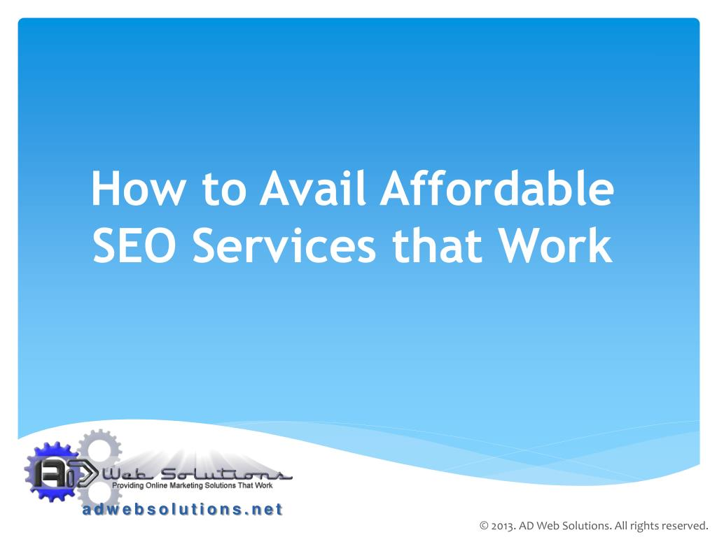 how to avail affordable seo services that work l.