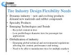 tire industry design flexibility needs