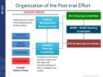 organization of the post trial effort