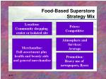 food based superstore strategy mix