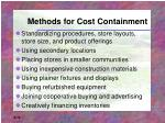 methods for cost containment