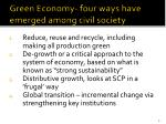 green economy four ways have emerged among civil society