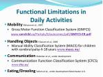 functional limitations in daily activities