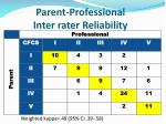 parent professional inter rater reliability