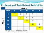 professional test retest reliability