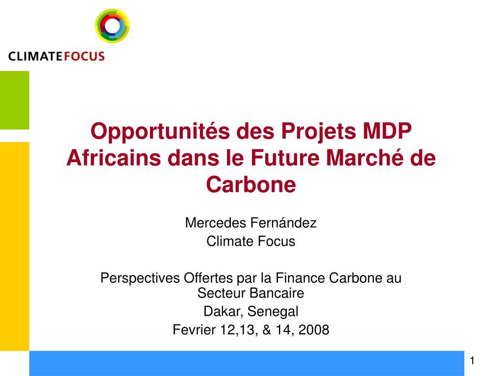 Opportunités des Projets MDP Africains dans le Future Marché de Carbone