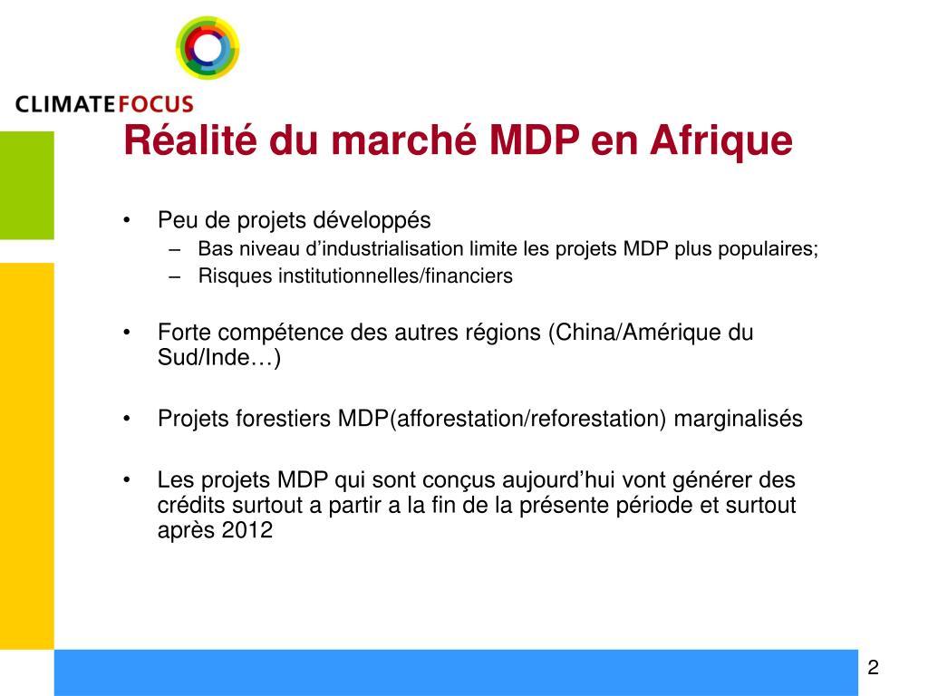 Réalité du marché MDP en Afrique