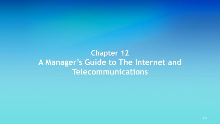Chapter 12 a manager s guide to the internet and telecommunications