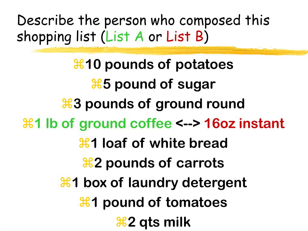 Describe the person who composed this shopping list (