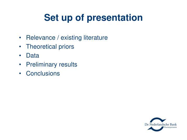 Set up of presentation