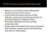 tools to document data security1