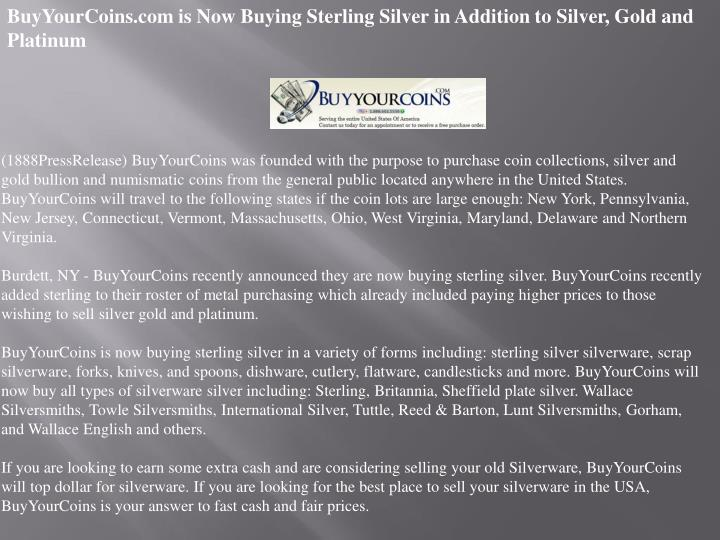 BuyYourCoins.com is Now Buying Sterling Silver in Addition to Silver, Gold and Platinum