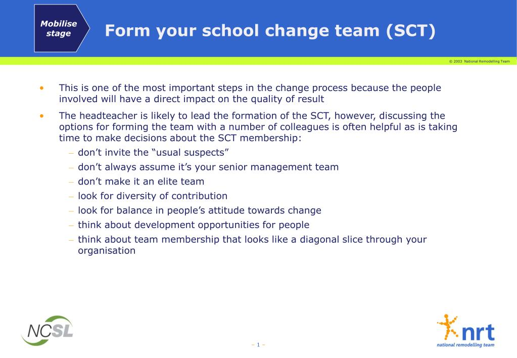 form your school change team sct l.