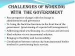 challenges of working with the government