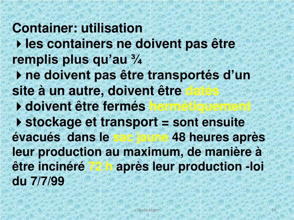 Container: utilisation