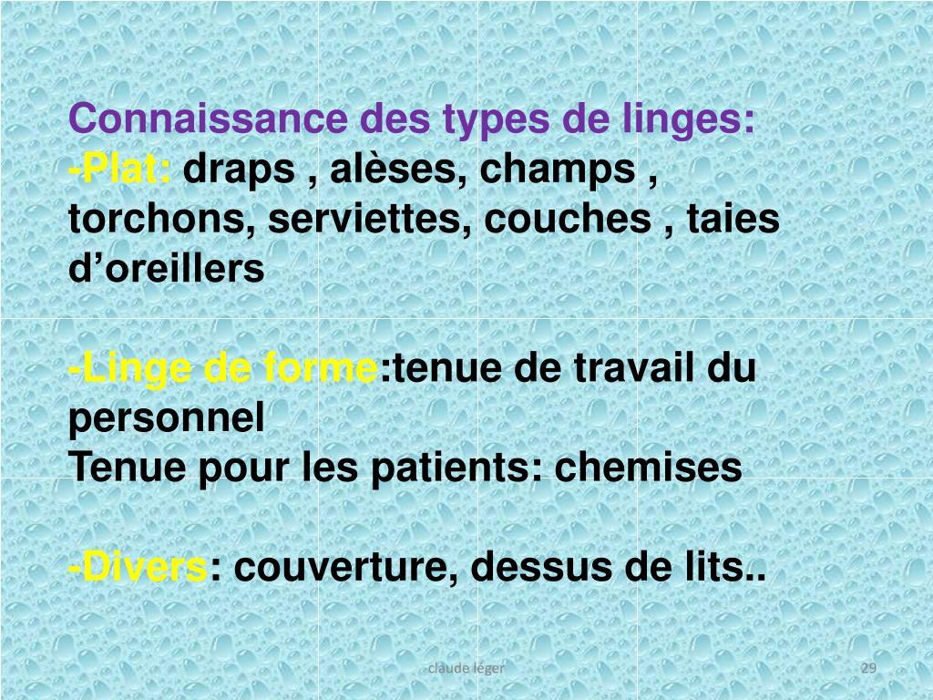 Connaissance des types de linges: