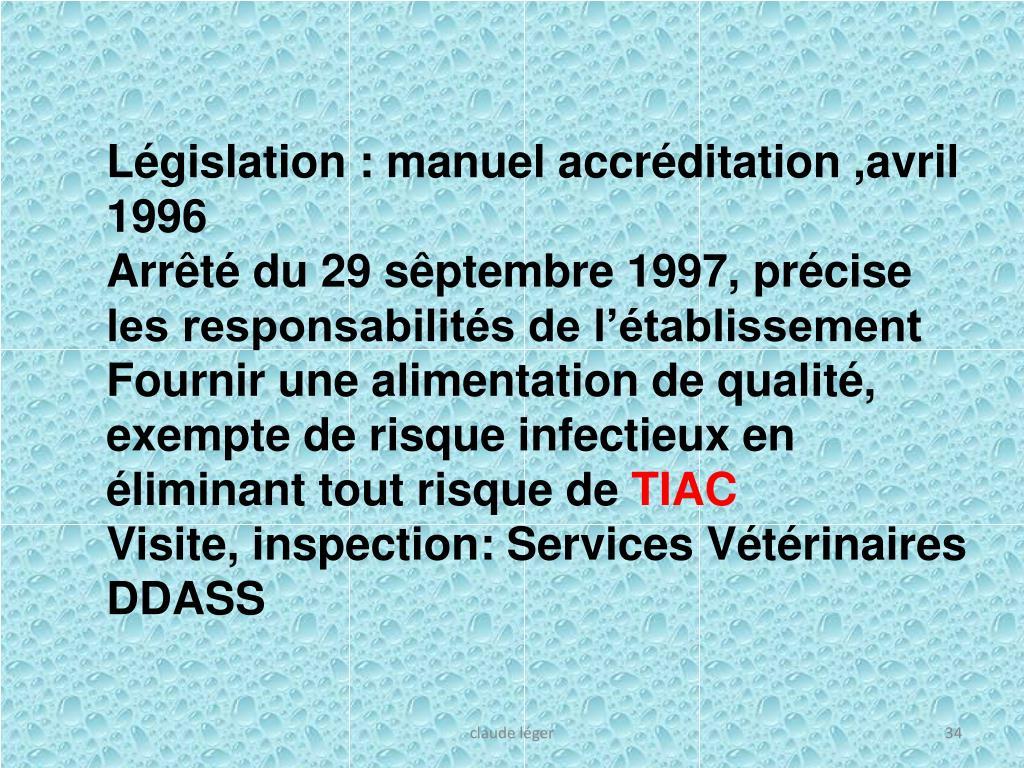 Législation : manuel accréditation ,avril 1996