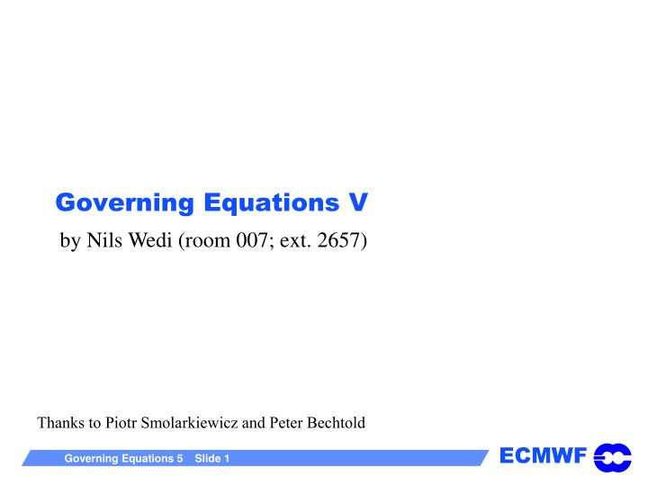 Governing equations v