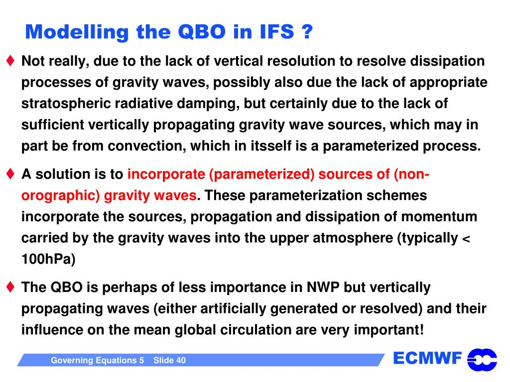 Modelling the QBO in IFS ?