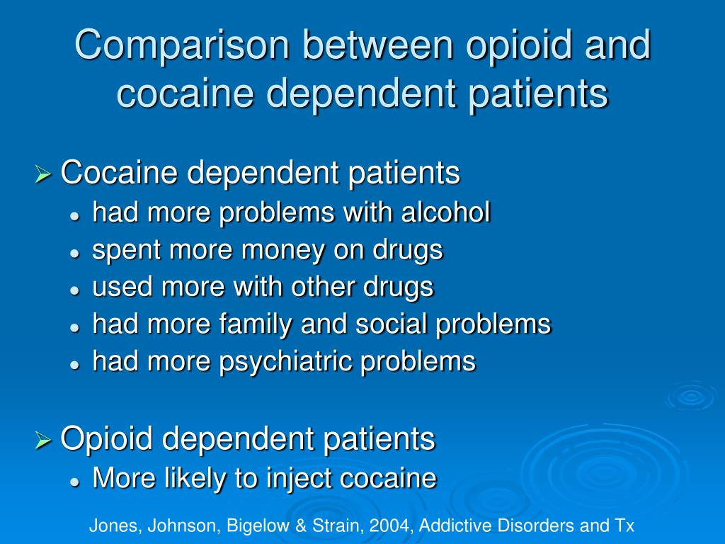 Comparison between opioid and cocaine dependent patients