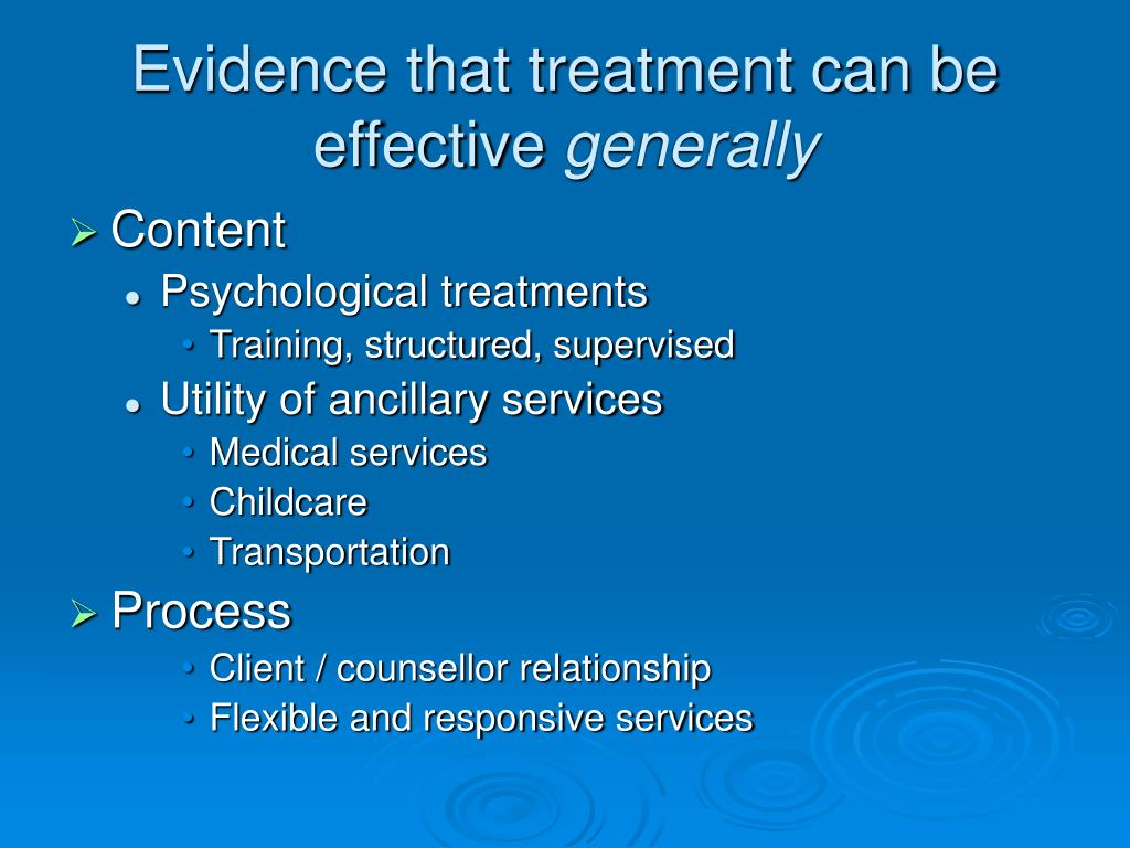 Evidence that treatment can be effective