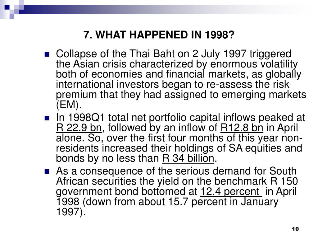 7. WHAT HAPPENED IN 1998?