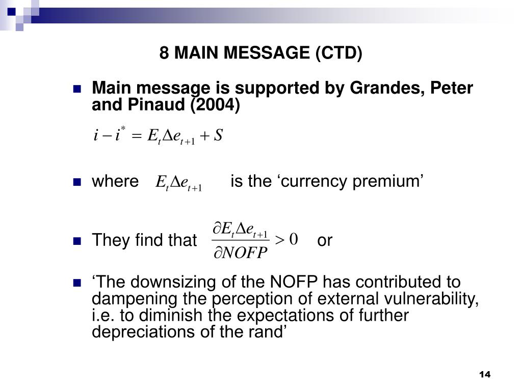 8 MAIN MESSAGE (CTD)