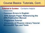 course basics tutorials cont