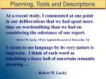 planning tools and descriptions48