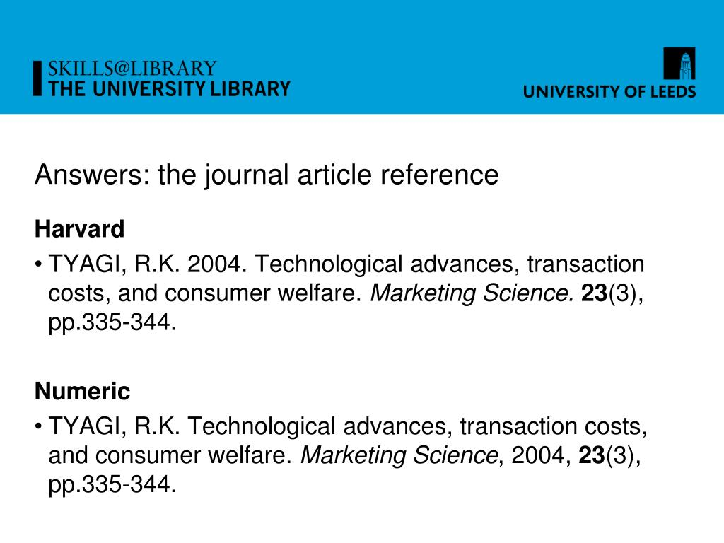 Answers: the journal article reference