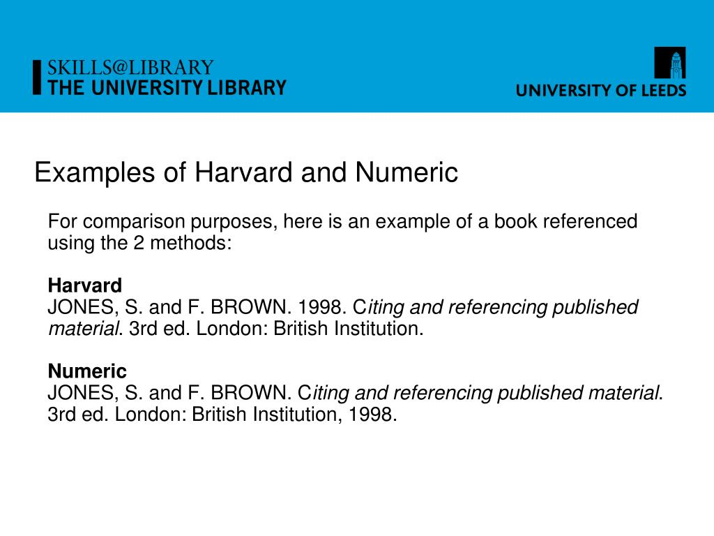 Examples of Harvard and Numeric