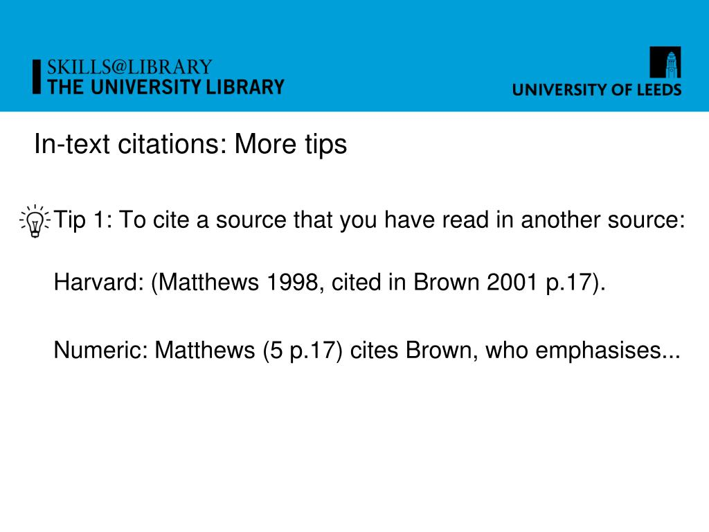 In-text citations: More tips