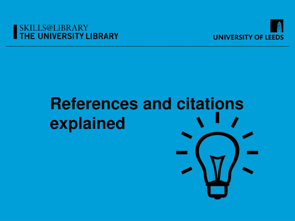 References and citations explained