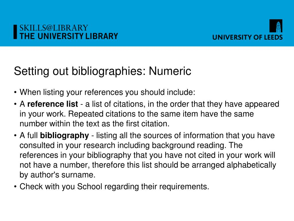 Setting out bibliographies: Numeric
