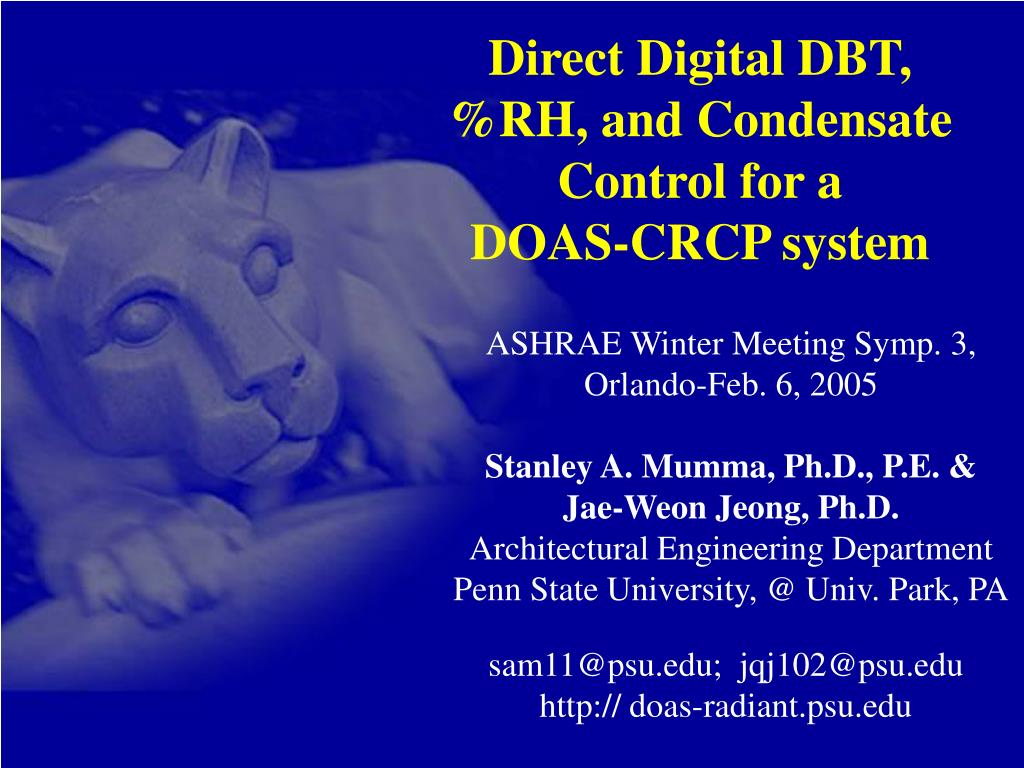 direct digital dbt rh and condensate control for a doas crcp system l.