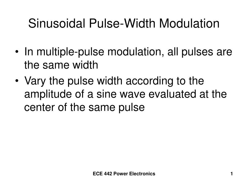sinusoidal pulse width modulation l.